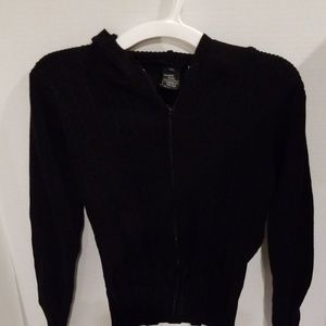 Kensie Black Hooded Zippered Down Sweater P/S. A19